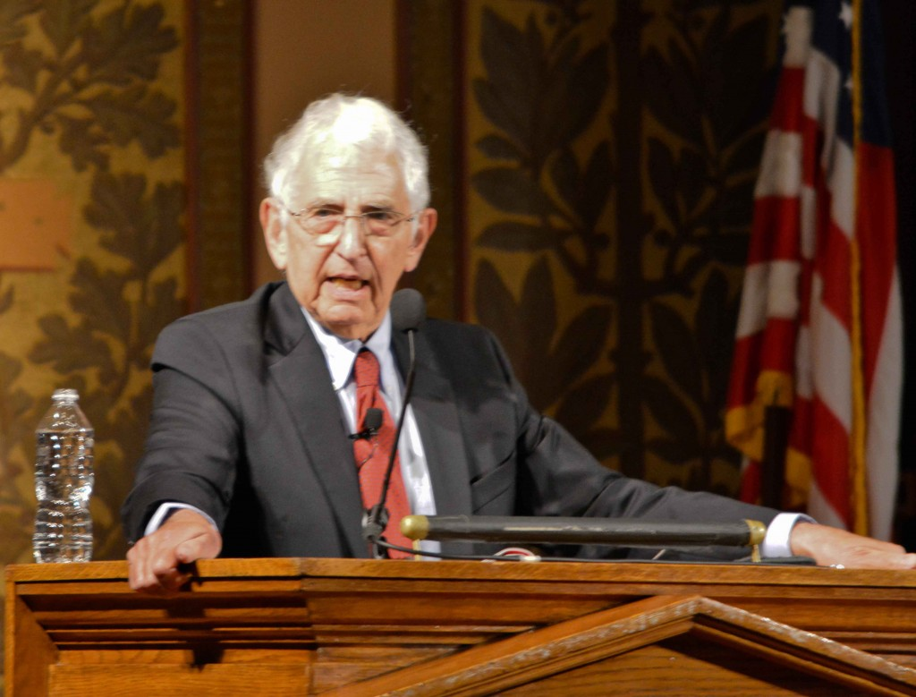Daniel Ellsberg, keynote speaker, at Georgetown University, April 22, 2014.